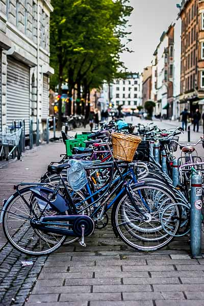 Copenhagen is one of the bike capitals of the world. Bikes dominated the streets and the sidewalks.
