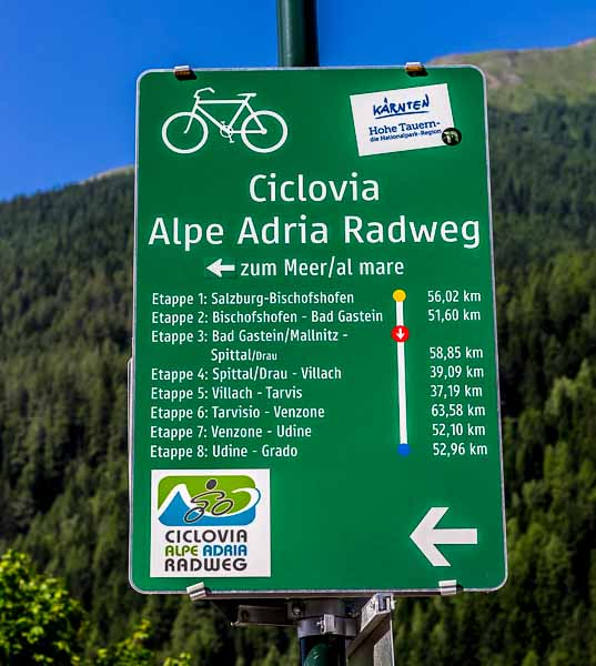 The Best and Worst of Cycle Touring Austria - Alpe Adria Radweg Signs