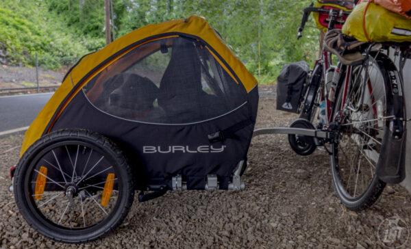 Sora sitting inside her Burley Design Tail Wagon