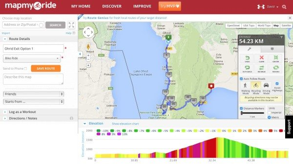 Looking at elevation change with mapmyride.com