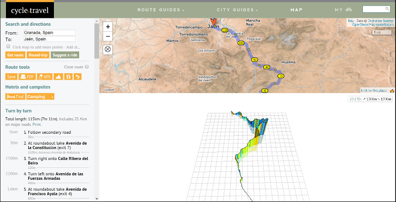 Cycle.Travel Screenshot for planning a route. Check out the 3D mapping.