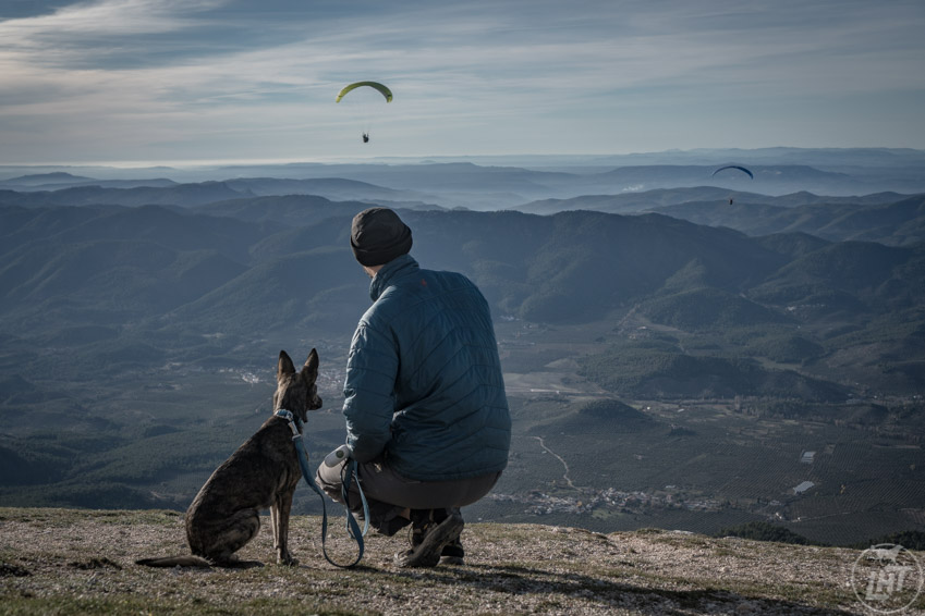 Dave and Laila watch paragliders take off in Jaen, Spain.