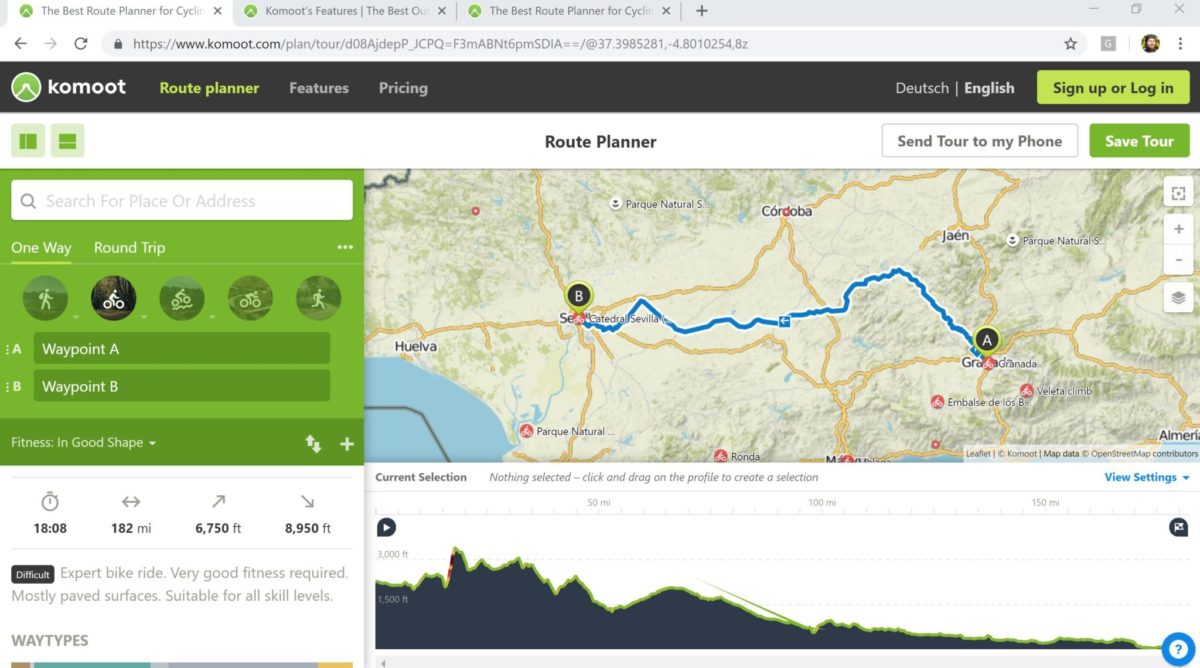 Komoot Desktop is one of the best offline mapping tools for cycle touring.