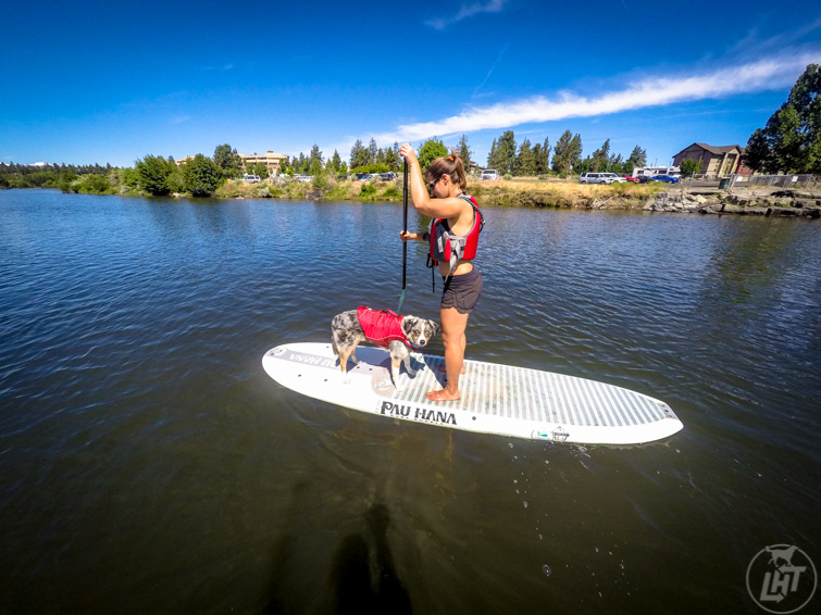 Paddle boarding on the Deschutes River in Bend, Oregon.