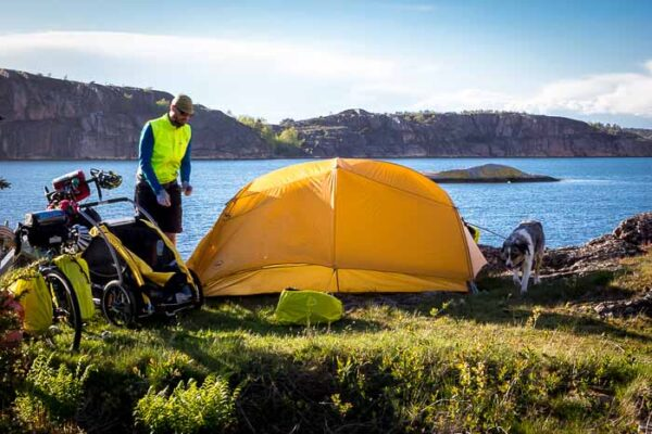 Setting up camp tent in Sweden