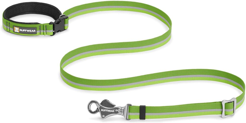 The Ruffwear Slackline Leash is a favorite hands-free dog leash for camping