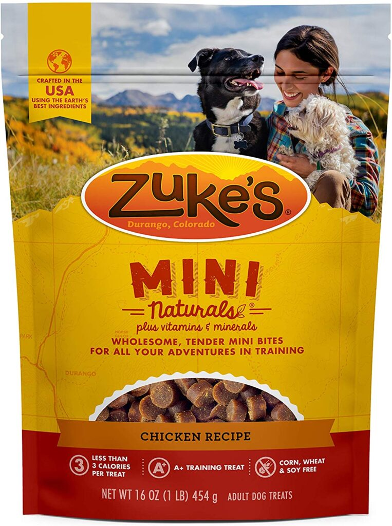 Zuke's Mini Naturals one of our favorite dog camping gear items because they're small and great for snacks in between meals
