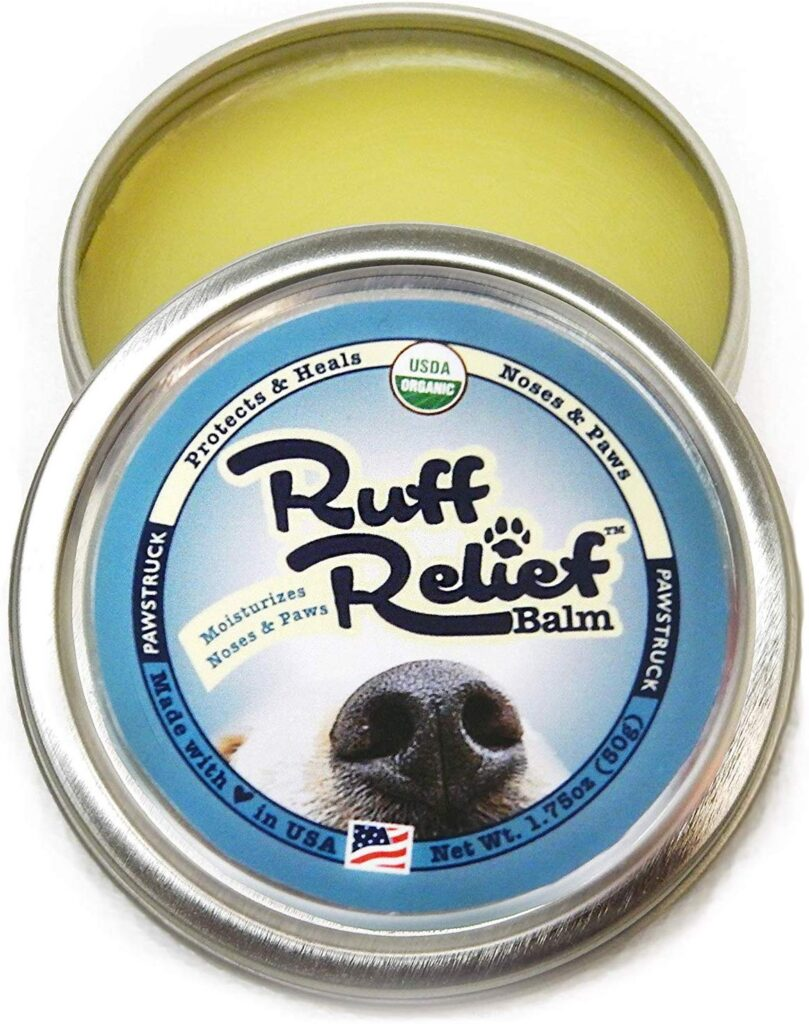 Ruff Relief protects dog paws, noses, and other areas with a soothing formula of organic ingredients.