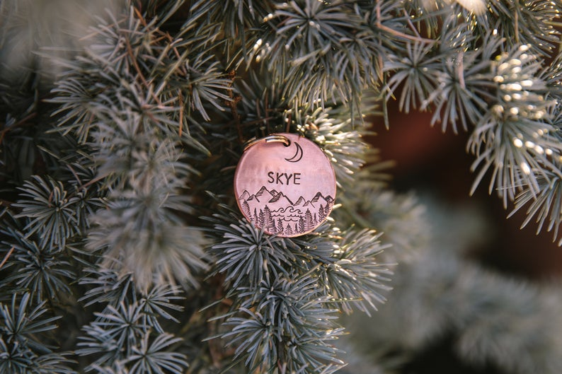 Little Pine makes beautiful hand stamped dog ID tags.