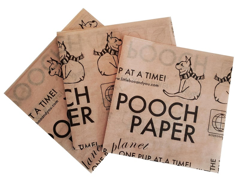 Pooch paper eliminates the need for plastic dog poop bags.