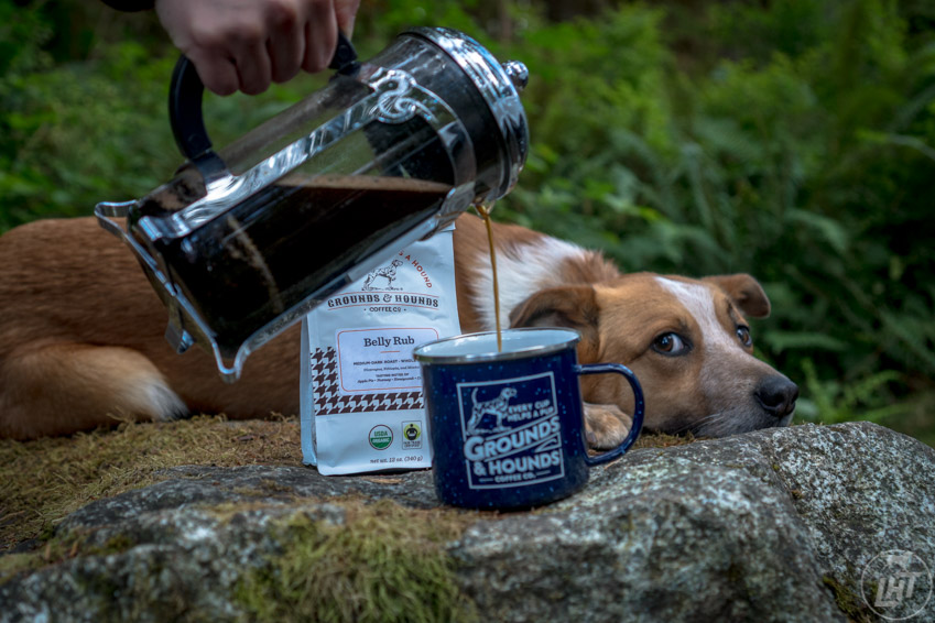 Enjoying Grounds & Hounds coffee at camp.