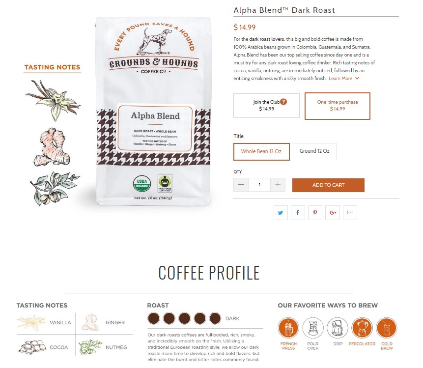 Each blend of Grounds & Hounds coffee features tasting notes to help you make the right selection.