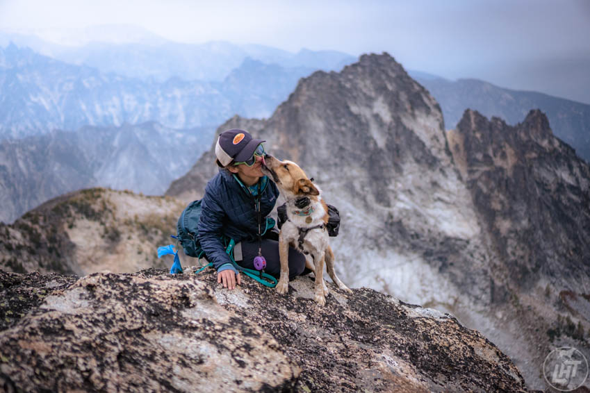 Jen and Sitka on top of Trapper Peak