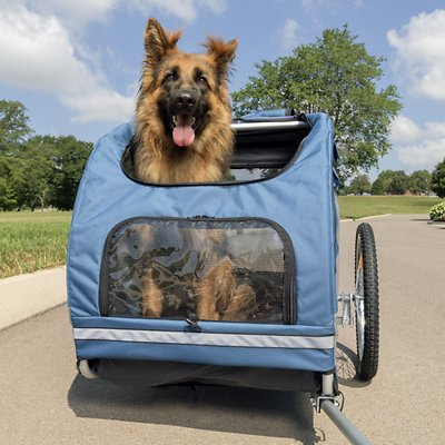 The SolvIt Houndabout is a decent budget dog bike trailer from PetSafe.